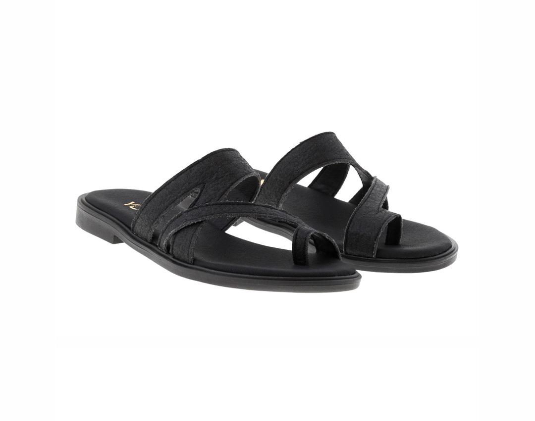 BLUEBELL PINATEX ΜΑΥΡΟ - eco vegan handmade sandal