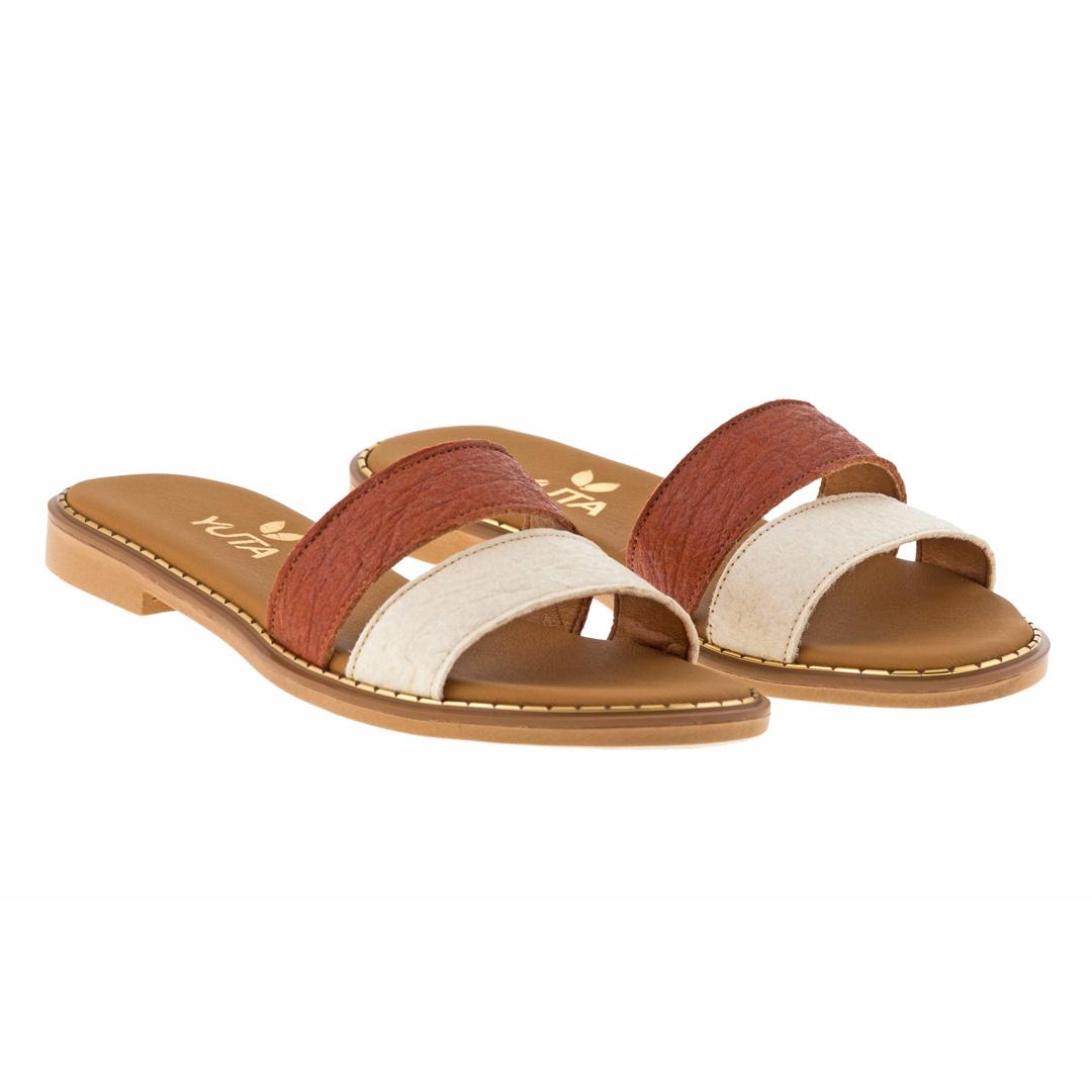 DAHLIA PINATEX ΛΕΥΚΟ/ΤΑΜΠΑ πέδιλο- eco vegan handmade sandal
