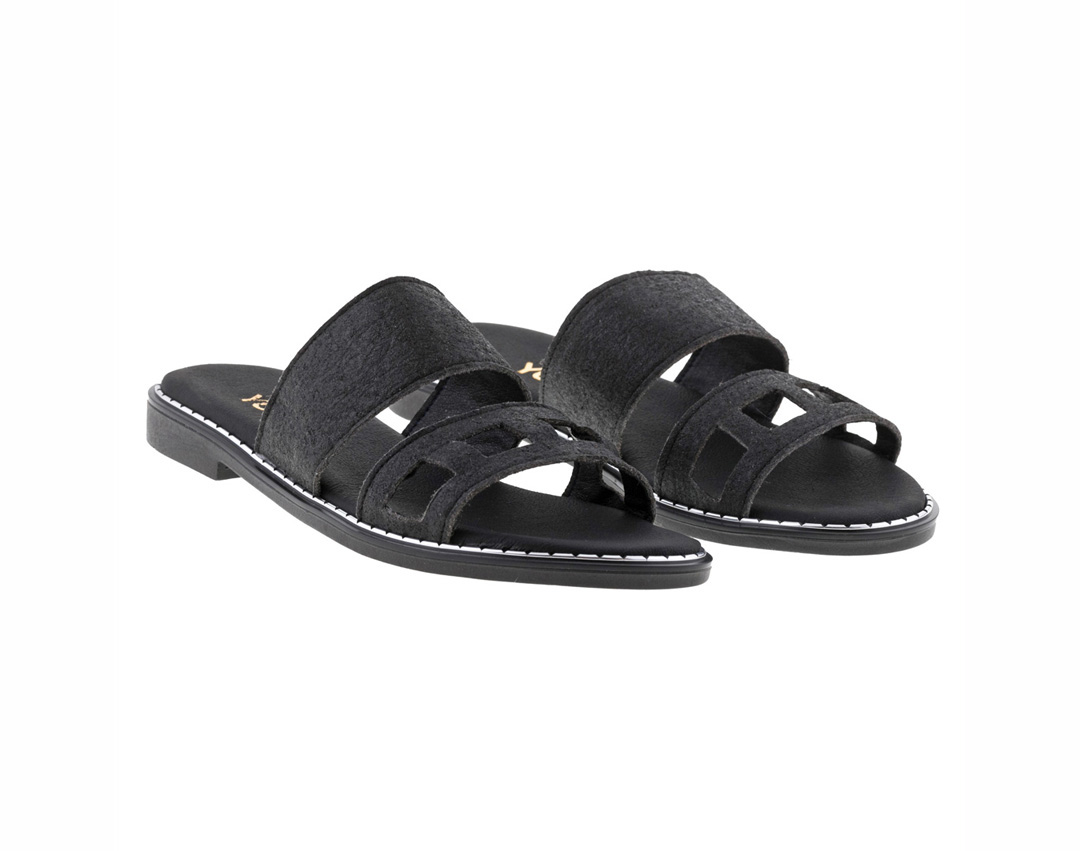 LILY PINATEX ΜΑΥΡΟ - eco vegan handmade sandal
