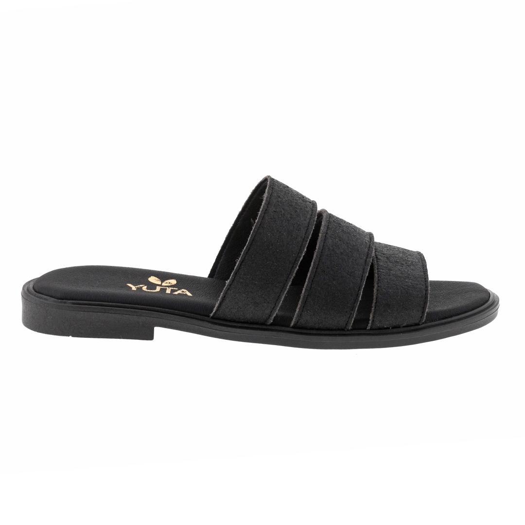 ROSE PINATEX Black πέδιλο- eco vegan handmade sandal
