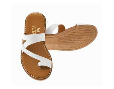 BLUEBELL ΛΕΥΚΟ πέδιλο- eco vegan handmade sandal