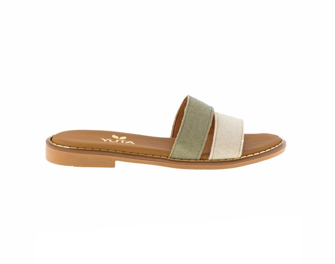 DAHLIA PINATEX ΛΕΥΚΟ/ΛΑΔΙ πέδιλο- eco vegan handmade sandal