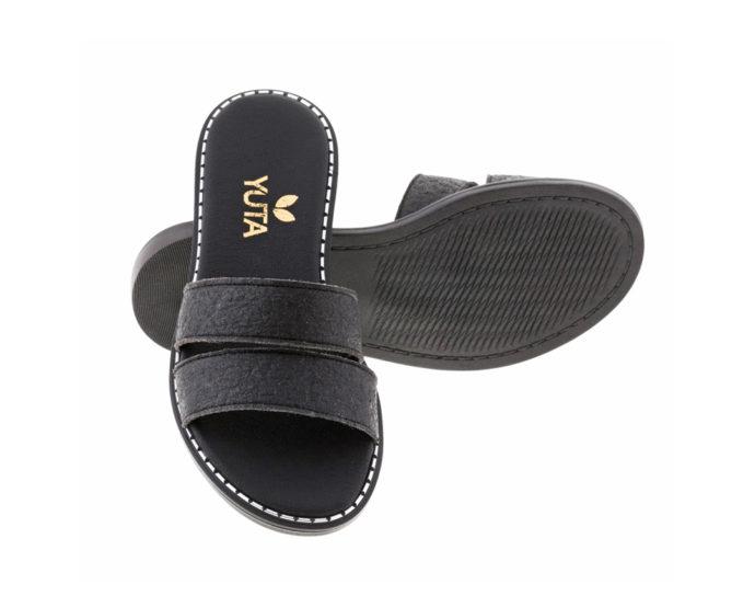 DAHLIA PINATEX Μαύρο πέδιλο- eco vegan handmade sandal