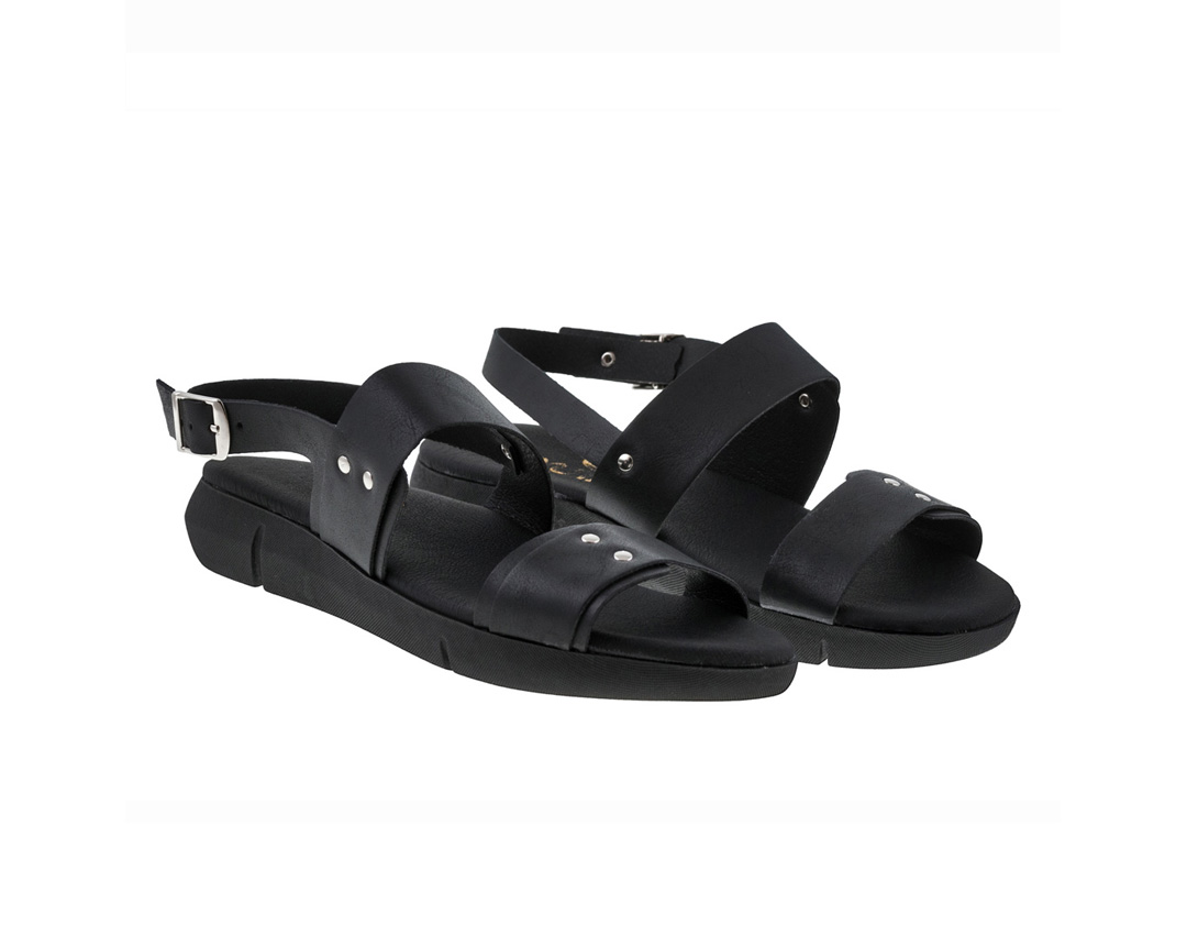 FERN ΜΑΥΡΟ πέδιλο- eco vegan handmade sandal