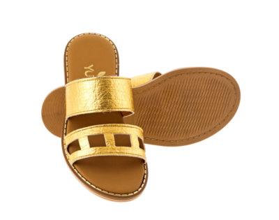 LILY PINATEX Χρυσό πέδιλο- eco vegan handmade sandal
