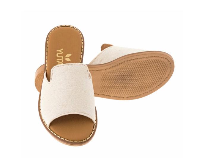POPLAR PINATEX ΛΕΥΚΟ πέδιλο- eco vegan handmade sandal