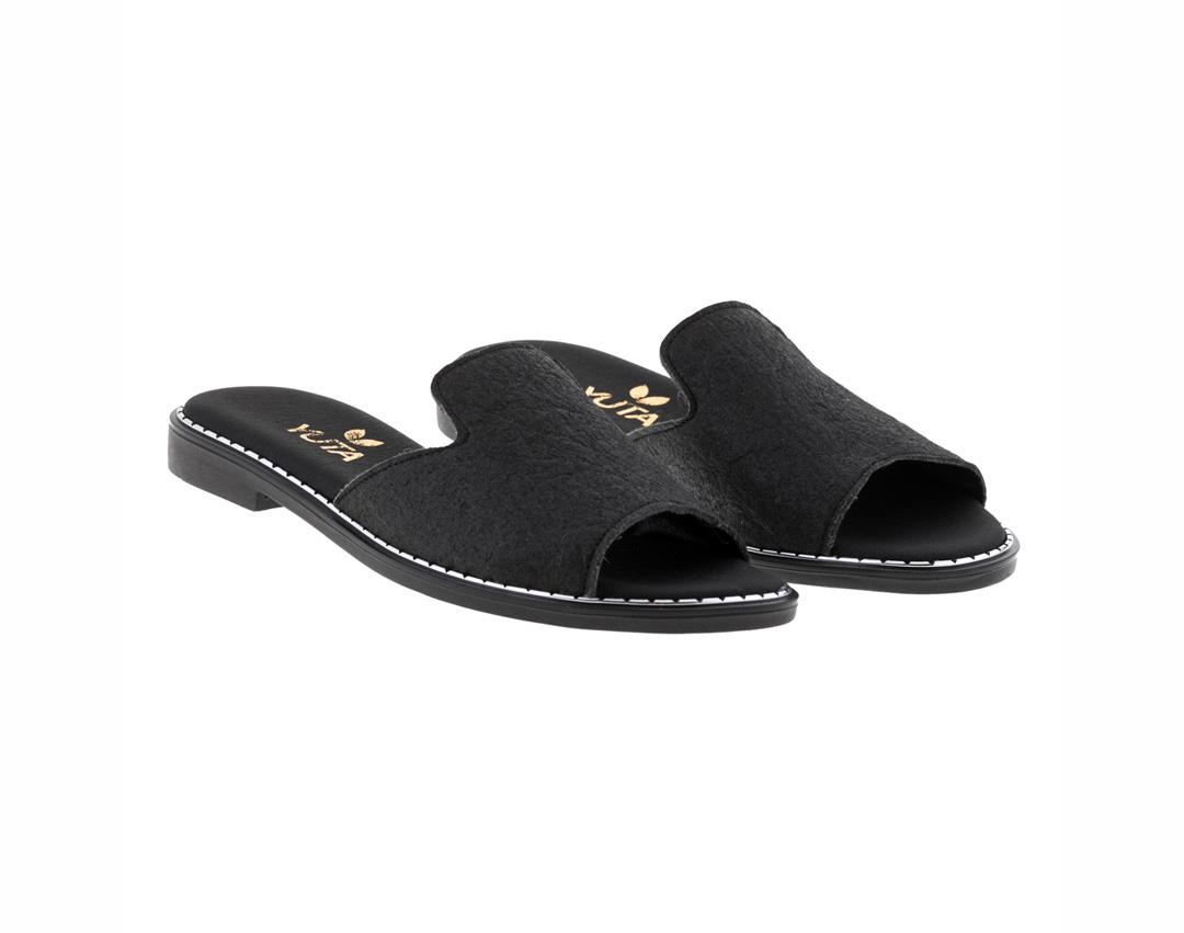 POPLAR PINATEX ΜΑΥΡΟ πέδιλο- eco vegan handmade sandal